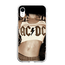 Чехол iPhone XR матовый AC/DC Girl цвета 3D-белый — фото 1