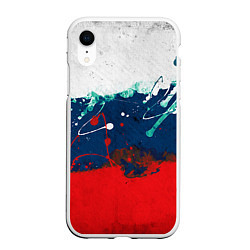Чехол iPhone XR матовый Триколор РФ цвета 3D-белый — фото 1