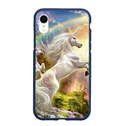 Чехол iPhone XR матовый Радужный единорог цвета 3D-тёмно-синий — фото 1
