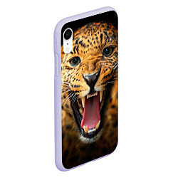 Чехол iPhone XR матовый Рык леопарда цвета 3D-светло-сиреневый — фото 2