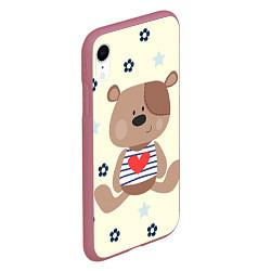 Чехол iPhone XR матовый Любовь мишки цвета 3D-малиновый — фото 2