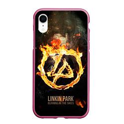 Чехол iPhone XR матовый Linkin Park: Burning the skies цвета 3D-малиновый — фото 1