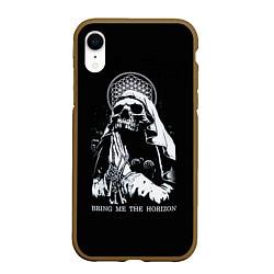 Чехол iPhone XR матовый BMTH: Skull Pray цвета 3D-коричневый — фото 1