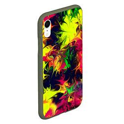 Чехол iPhone XR матовый Кислотный взрыв цвета 3D-темно-зеленый — фото 2