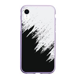Чехол iPhone XR матовый Черно-белый разрыв цвета 3D-светло-сиреневый — фото 1