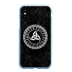 Чехол iPhone XS Max матовый Рог Одина цвета 3D-голубой — фото 1