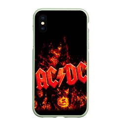 Чехол iPhone XS Max матовый AC/DC Flame цвета 3D-салатовый — фото 1