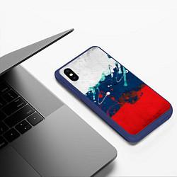 Чехол iPhone XS Max матовый Триколор РФ цвета 3D-тёмно-синий — фото 2