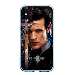 Чехол iPhone XS Max матовый Доктор кто цвета 3D-голубой — фото 1