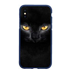 Чехол iPhone XS Max матовый Черная кошка цвета 3D-тёмно-синий — фото 1