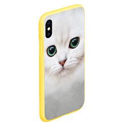 Чехол для iPhone XS Max матовый с принтом Белый котик, цвет: 3D-желтый, артикул: 10065043105907 — фото 2