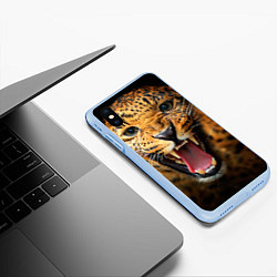 Чехол iPhone XS Max матовый Рык леопарда цвета 3D-голубой — фото 2