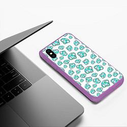 Чехол iPhone XS Max матовый Бриллианты цвета 3D-фиолетовый — фото 2