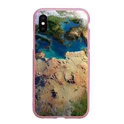 Чехол iPhone XS Max матовый Земля цвета 3D-розовый — фото 1