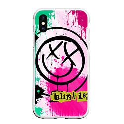 Чехол iPhone XS Max матовый Blink-182: Purple Smile цвета 3D-белый — фото 1