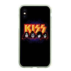 Чехол iPhone XS Max матовый KISS: Death Faces цвета 3D-салатовый — фото 1