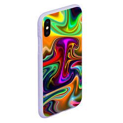 Чехол iPhone XS Max матовый Неоновые разводы цвета 3D-светло-сиреневый — фото 2