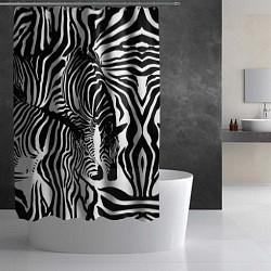 Шторка для душа Полосатая зебра цвета 3D-принт — фото 2