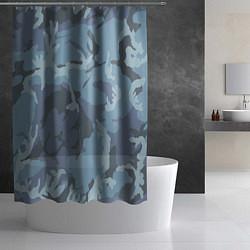 Шторка для душа Камуфляж: голубой/синий цвета 3D — фото 2