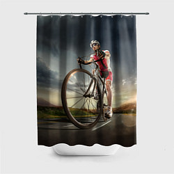 Шторка для душа Велогонщик цвета 3D-принт — фото 1