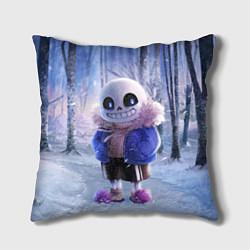 Подушка квадратная Winter forest & Sans цвета 3D — фото 1