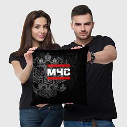 Подушка квадратная МЧС: герб РФ цвета 3D — фото 2