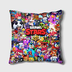 Подушка квадратная BRAWL STARS ВСЕ ПЕРСОНАЖИ цвета 3D — фото 1
