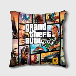 Подушка квадратная GTA 5: City Stories цвета 3D — фото 1