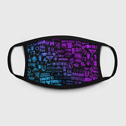 Маска для лица Неоновые лого игр цвета 3D — фото 2