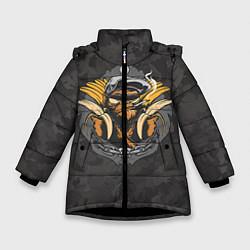 Детская зимняя куртка для девочки с принтом Камуфляжная обезьяна, цвет: 3D-черный, артикул: 10100551406065 — фото 1