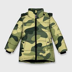 Куртка зимняя для девочки Камуфляж: зеленый/хаки цвета 3D-черный — фото 1