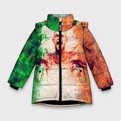 Детская зимняя куртка для девочки с принтом Conor McGregor: Ireland, цвет: 3D-черный, артикул: 10102373006065 — фото 1