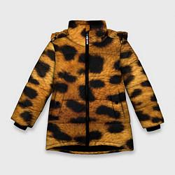 Куртка зимняя для девочки Шкура леопарда цвета 3D-черный — фото 1