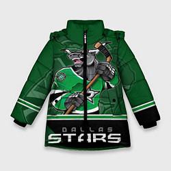Детская зимняя куртка для девочки с принтом Dallas Stars, цвет: 3D-черный, артикул: 10106986406065 — фото 1