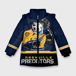 Детская зимняя куртка для девочки с принтом Nashville Predators, цвет: 3D-черный, артикул: 10106987306065 — фото 1