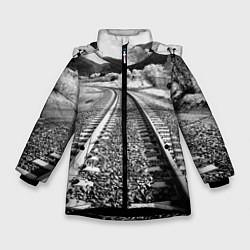 Куртка зимняя для девочки Железная дорога цвета 3D-черный — фото 1