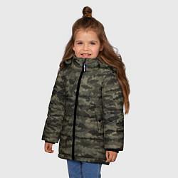 Куртка зимняя для девочки Камуфляж рыбака цвета 3D-черный — фото 2