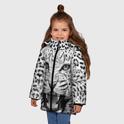 Куртка зимняя для девочки Белый леопард цвета 3D-черный — фото 2