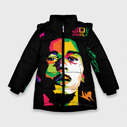Куртка зимняя для девочки Боб Марли: фан-арт цвета 3D-черный — фото 1