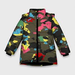 Куртка зимняя для девочки Цветной камуфляж цвета 3D-черный — фото 1