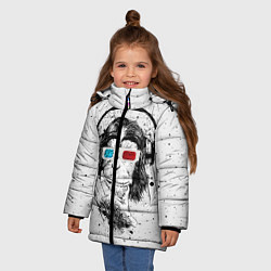 Детская зимняя куртка для девочки с принтом Обезьяна в наушниках, цвет: 3D-черный, артикул: 10117562906065 — фото 2