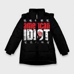 Куртка зимняя для девочки Green Day: American idiot цвета 3D-черный — фото 1
