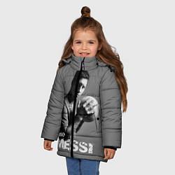 Детская зимняя куртка для девочки с принтом Leo Messi, цвет: 3D-черный, артикул: 10123452806065 — фото 2