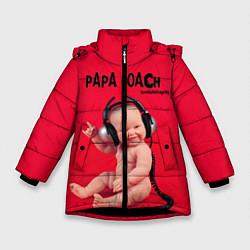 Куртка зимняя для девочки Paparoach: Music Kid цвета 3D-черный — фото 1