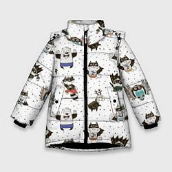 Куртка зимняя для девочки Лесные супергерои цвета 3D-черный — фото 1