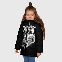 Детская зимняя куртка для девочки с принтом Dethklok: Goat Skull, цвет: 3D-черный, артикул: 10134390306065 — фото 2