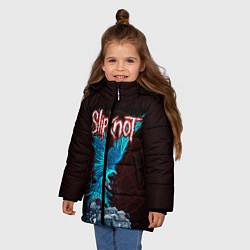 Детская зимняя куртка для девочки с принтом Орел группа Slipknot, цвет: 3D-черный, артикул: 10135999506065 — фото 2