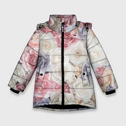 Куртка зимняя для девочки Букет из роз цвета 3D-черный — фото 1