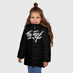 Детская зимняя куртка для девочки с принтом Чисто Питер, цвет: 3D-черный, артикул: 10136599306065 — фото 2