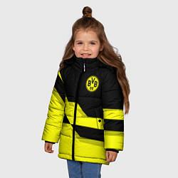 Куртка зимняя для девочки BVB FC: Yellow style цвета 3D-черный — фото 2